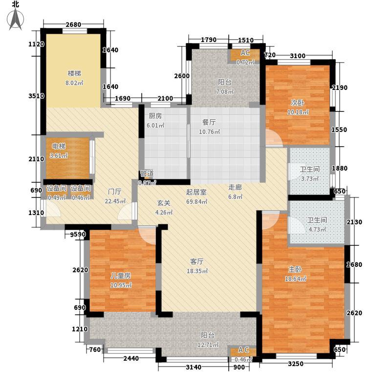 荣盛华府151.00㎡一期小高层16#楼B户型3室3厅2卫1厨