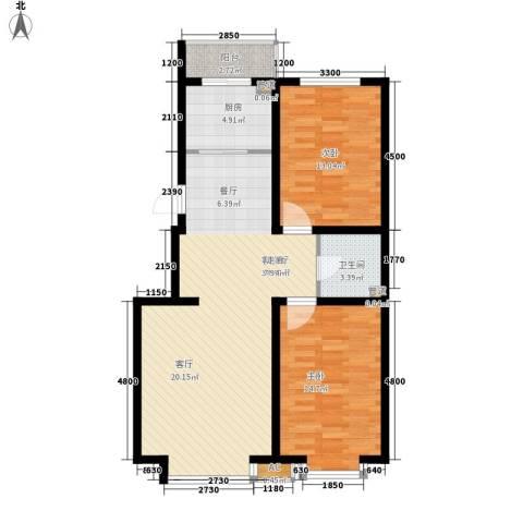 青阳四季园2室1厅1卫1厨105.00㎡户型图