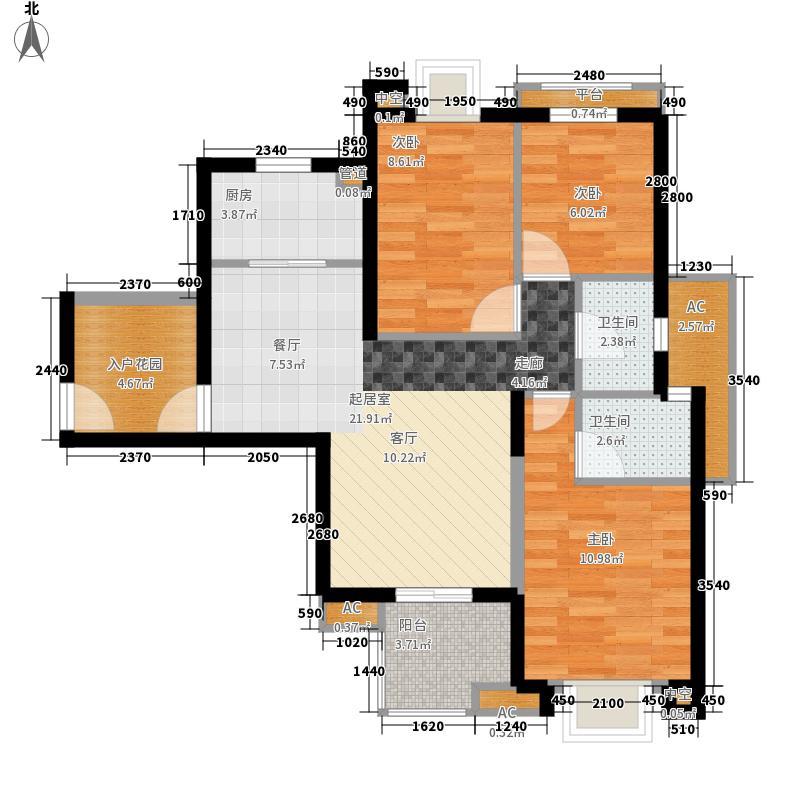 威尼斯水城83.00㎡十四街区12、13、24栋标准层3A户型2室2厅1卫1厨