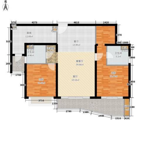 虹桥乐庭铂晶馆2室1厅2卫1厨123.00㎡户型图