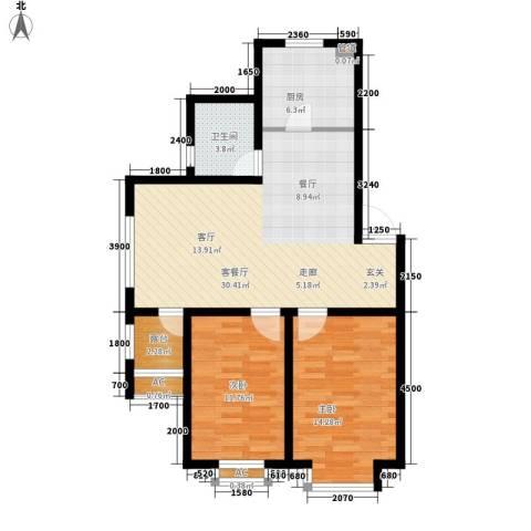 青阳四季园2室1厅1卫1厨101.00㎡户型图