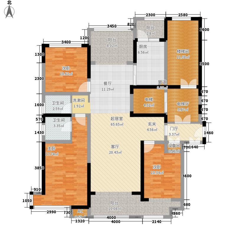 荣盛华府147.00㎡一期小高层8#楼A户型3室3厅2卫1厨