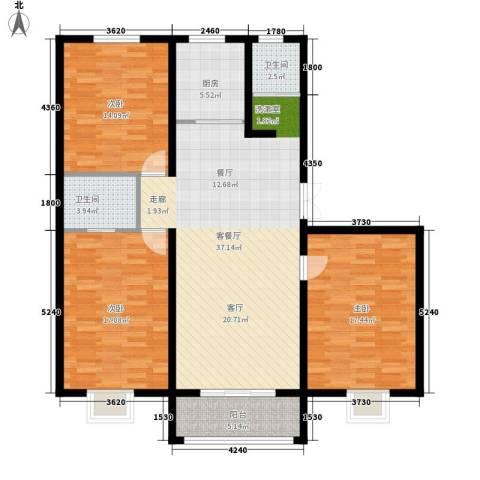 苏源聚福园3室1厅2卫1厨142.00㎡户型图