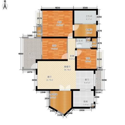 明景・江南世家3室1厅2卫1厨142.00㎡户型图
