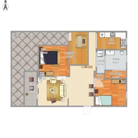 碧水莲晴2室1厅2卫1厨131.00㎡户型图