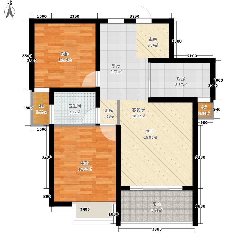 龙盛幸福里2.00㎡一期高层49#楼D户型2室2厅1卫1厨