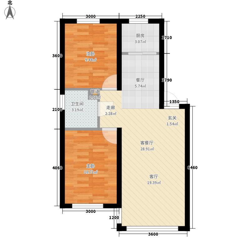昌和・岭秀75.20㎡6、8、9、10号楼D标准层户型2室2厅1卫1厨