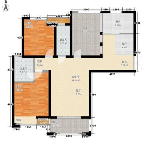 海悦国际2室1厅2卫1厨124.00㎡户型图