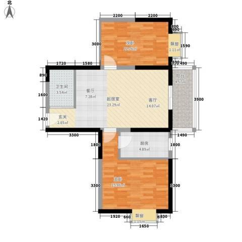 天赐苑2室0厅1卫1厨92.00㎡户型图