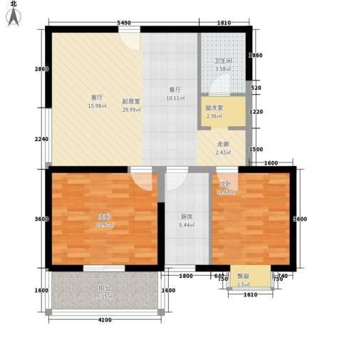 天赐苑2室0厅1卫1厨94.00㎡户型图