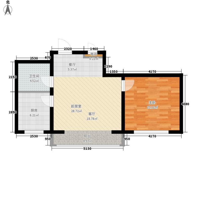 松江绅苑61.76㎡户型1室2厅1卫1厨