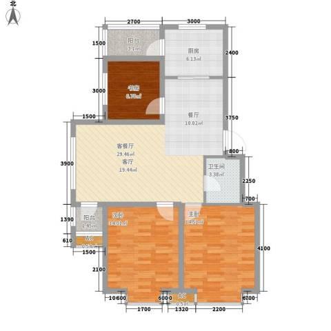 青阳四季园3室1厅1卫1厨114.00㎡户型图