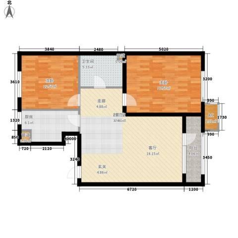 龙湖・紫都城2室0厅1卫1厨88.00㎡户型图