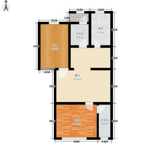 翠屏北里1室1厅2卫1厨75.00㎡户型图