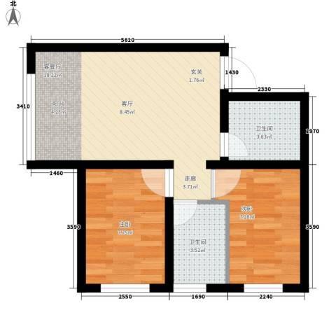 罗马公元2室1厅2卫0厨47.00㎡户型图