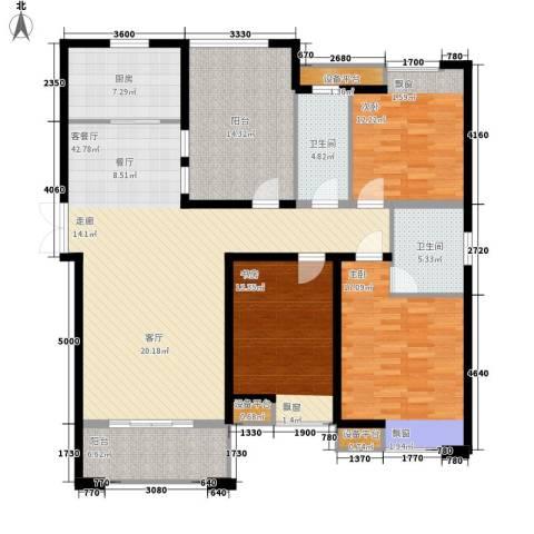 海悦国际3室1厅2卫1厨138.00㎡户型图