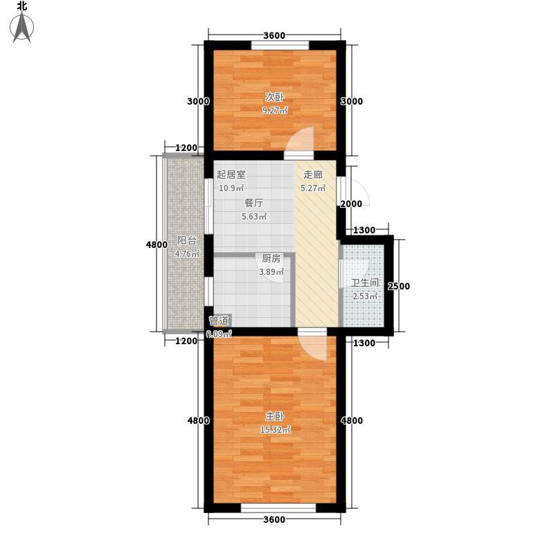 尊龙苑四季阳光户型图2室1厅
