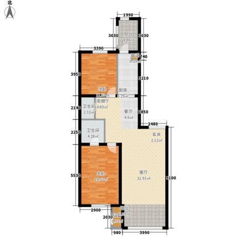 宝宇天邑澜湾2室1厅2卫1厨143.00㎡户型图