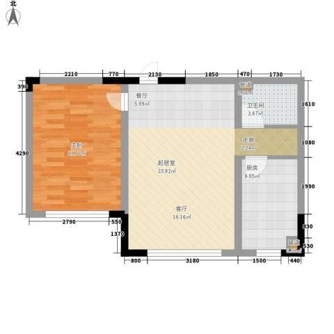 雍达华仁公馆1室0厅1卫1厨54.00㎡户型图