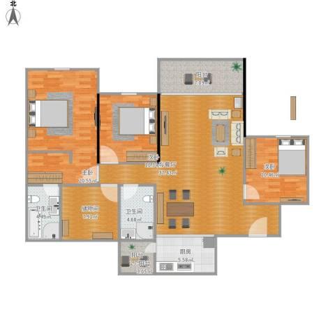 恒大山水城3室1厅2卫1厨141.00㎡户型图