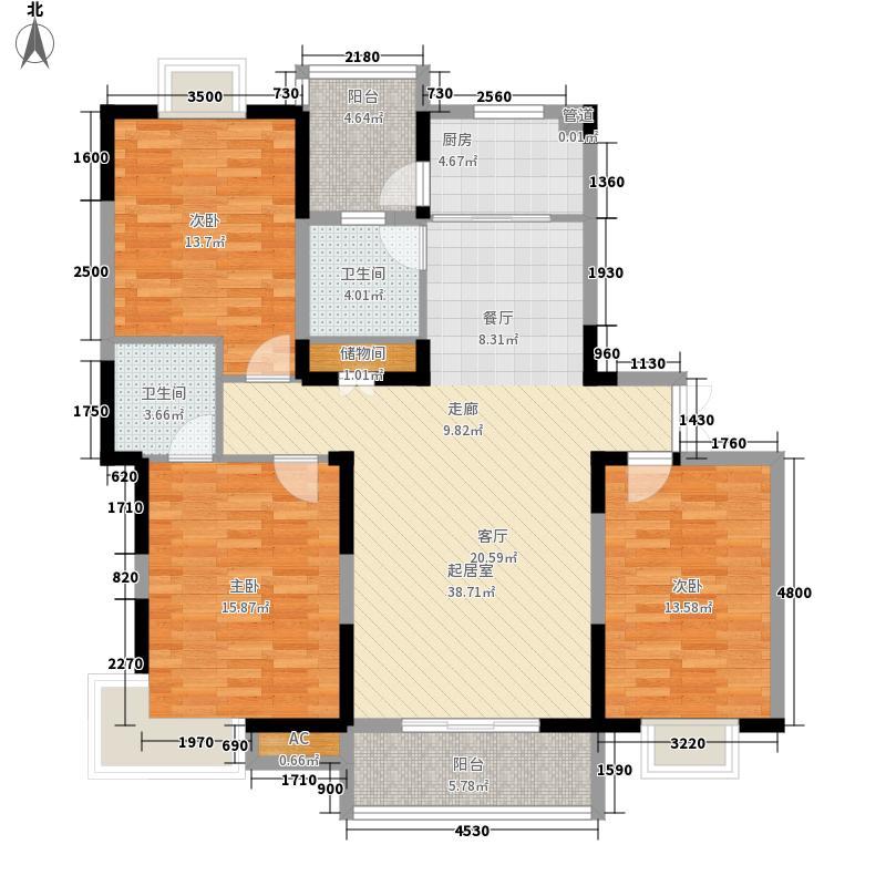 祥瑞蓝堡国际公寓136.70㎡G户型3室2厅2卫1厨