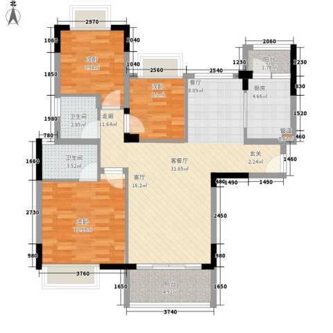 里维埃拉3室1厅2卫1厨110.00㎡户型图
