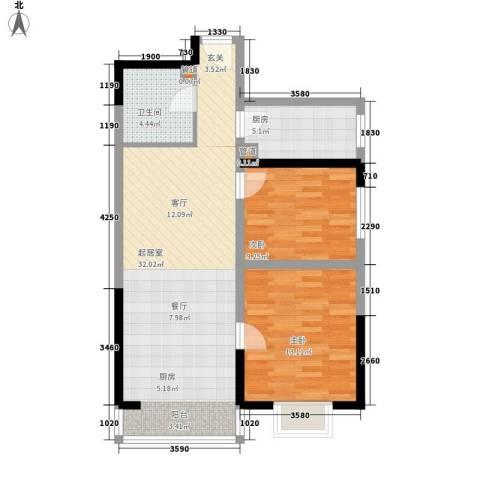 金海湾2室0厅1卫1厨87.00㎡户型图