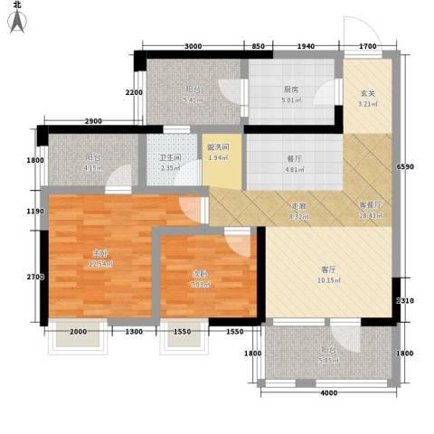 司南3空间2室1厅1卫1厨88.00㎡户型图