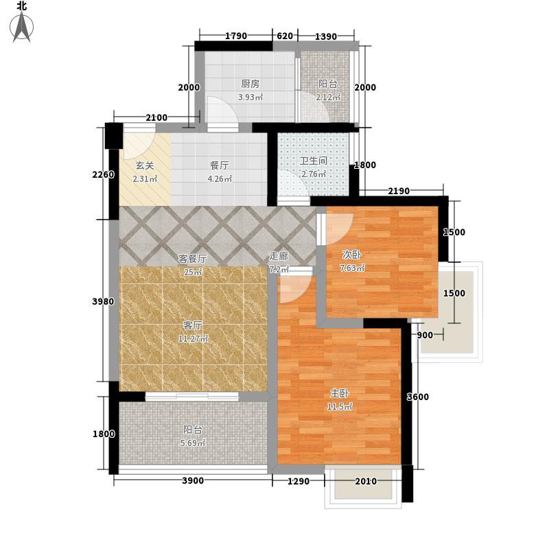 司南3空间8.00㎡4号楼E户型2室2厅1卫1厨