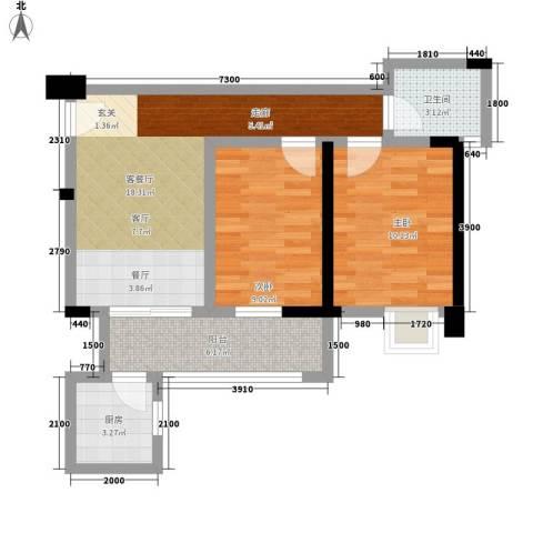 司南3空间2室1厅1卫1厨71.00㎡户型图