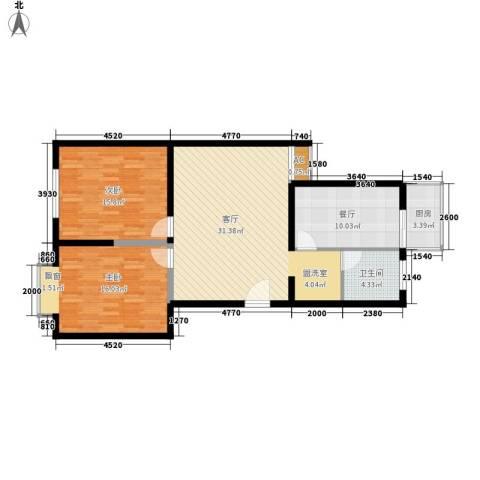 阅江花苑2室2厅1卫1厨92.00㎡户型图