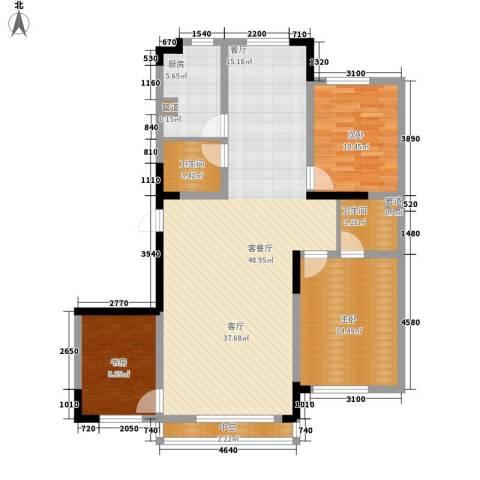 雍达华仁公馆3室1厅2卫1厨111.00㎡户型图