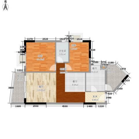 保利百合花园2室2厅1卫0厨80.00㎡户型图