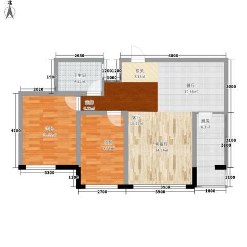 天鸿嘉园2室1厅1卫1厨66.64㎡户型图