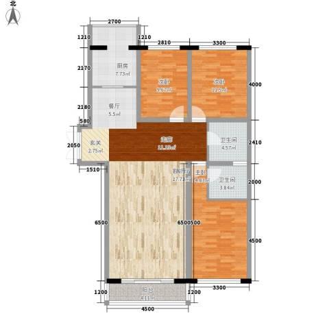 天鸿嘉园3室1厅2卫1厨146.00㎡户型图