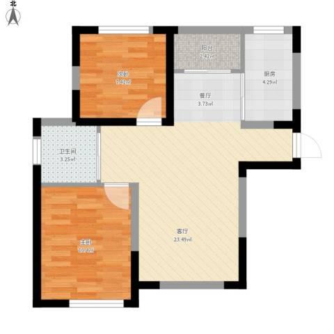 新里海德公馆2室1厅1卫1厨74.00㎡户型图