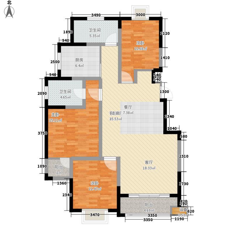 枫逸人家117.68㎡G户型3室2厅2卫1厨