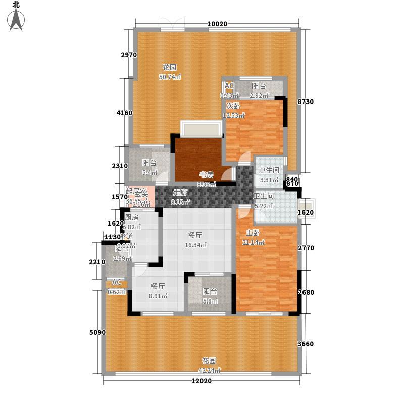 中铁山水时光126.14㎡A底户型3室2厅