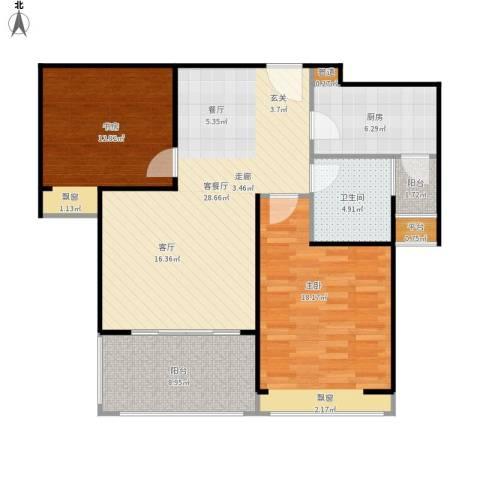 中信和平家园2室1厅1卫1厨111.00㎡户型图