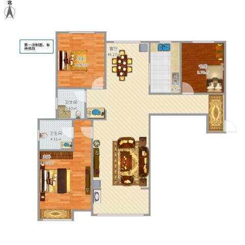 鼓楼上城3室1厅2卫1厨138.00㎡户型图