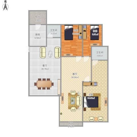 碧桂园别墅3室2厅2卫1厨168.00㎡户型图