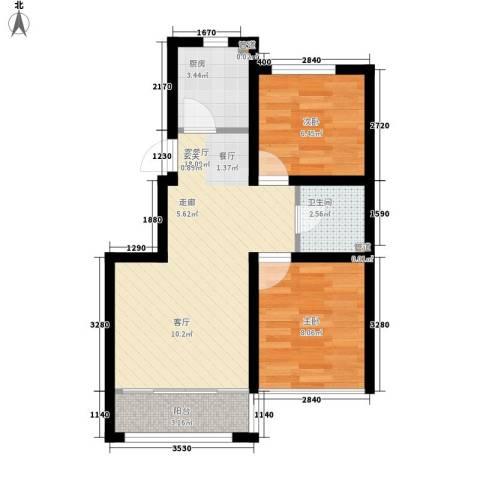 香槟蓝郡2室1厅1卫1厨73.00㎡户型图