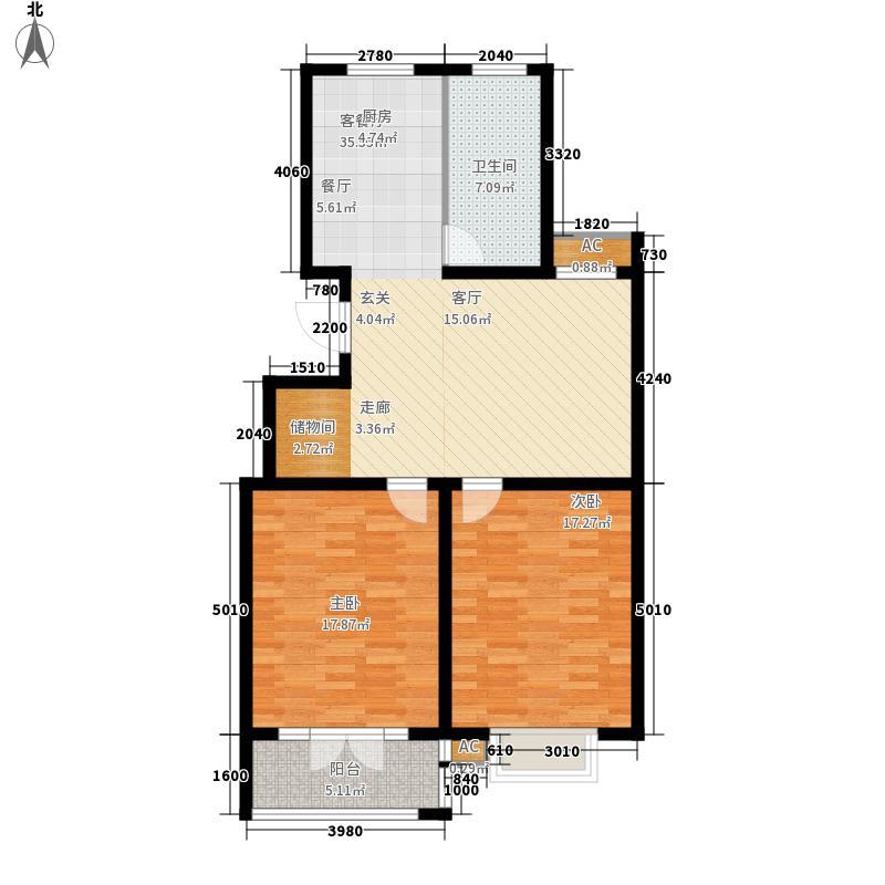 华夏太阳城98.43㎡华夏太阳城户型图B2室2厅1卫户型2室2厅1卫