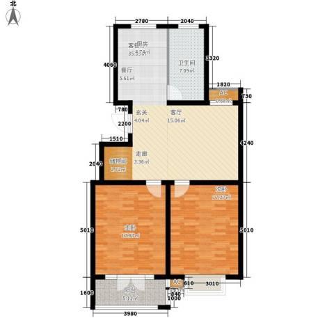 华夏太阳城2室1厅1卫0厨98.00㎡户型图