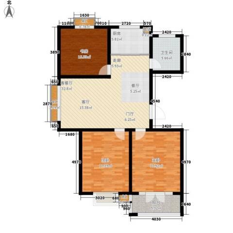 华夏太阳城3室1厅1卫1厨115.00㎡户型图