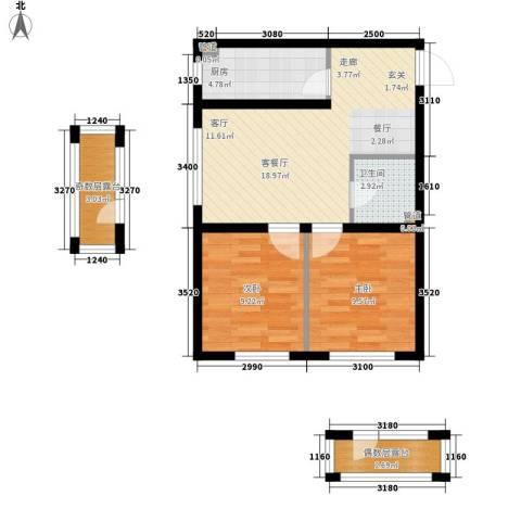 香槟蓝郡2室1厅1卫1厨60.00㎡户型图