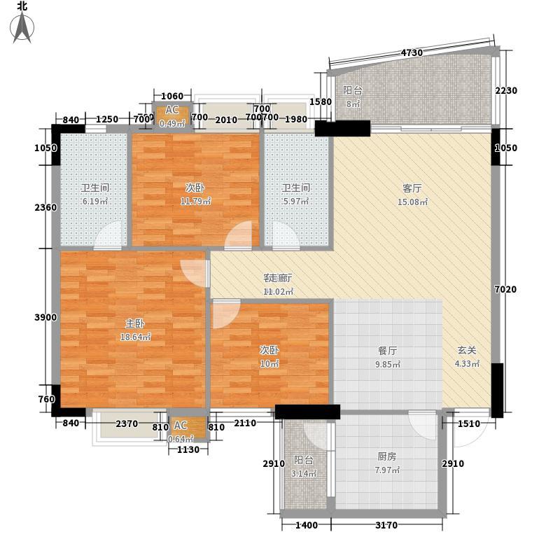 金美花园金泽台127.00㎡金美花园金泽台3室户型3室