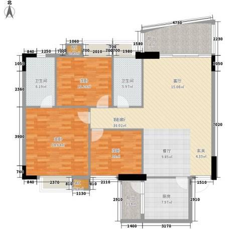 金美花园金泽台3室1厅2卫1厨125.74㎡户型图