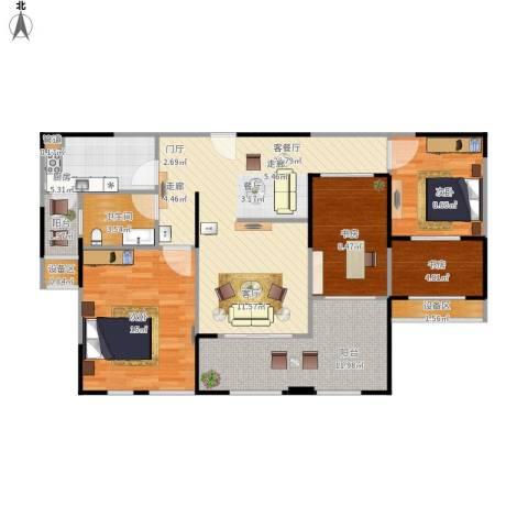 华邦光明世家4室1厅1卫1厨122.00㎡户型图