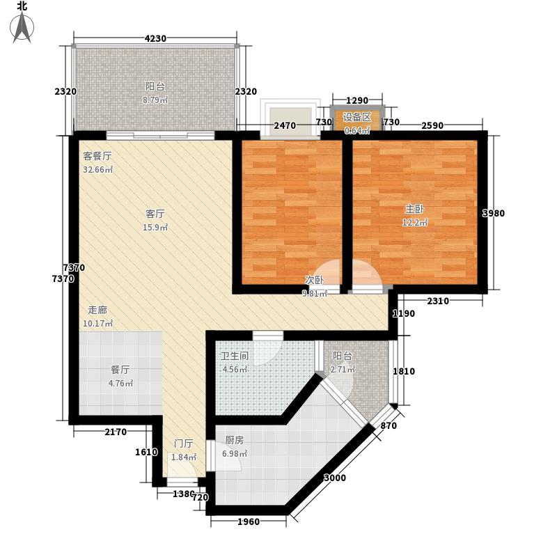 宏业阳光佳居91.87㎡宏业阳光佳居户型图B1标准层2室2厅1卫1厨户型2室2厅1卫1厨